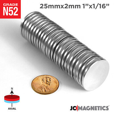 1in x 1//16in N52 Super Strong Disc Rare Earth Neodymium Magnet 25 mm x 2 mm