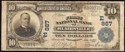 Large 1902 $10 Dollar Bill Blairsville National Bank Note Currency Paper Money