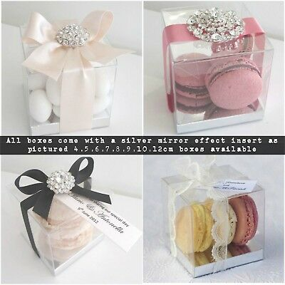 Clear Transparent PVC Cube Pilllow Chocolate Sweets Favour Cup Cake Gift Boxes
