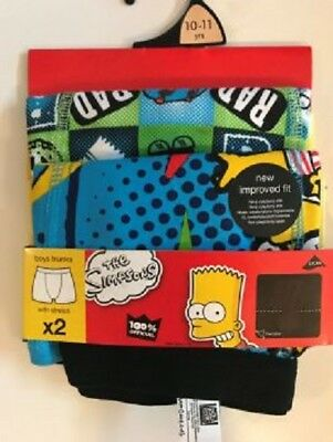 2 x Boys The Simpson Bart Simpson Trunks Boxer Shorts Age 7/8 And 10/11