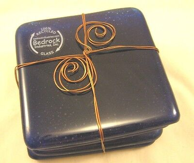 Bedrock 100% Recycled Cobalt Blue Glass Coasters Gift Set NWOT Copper Bow