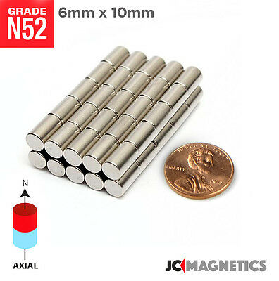 6 mm x 10 mm 1/4in x 3/8in N52 Super Strong Disc Rare Earth Neodymium Magnet