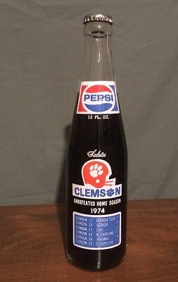 Clemson Pepsi Bottle 1974 celebrating undefeated Home Season Unopened