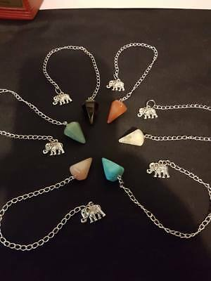 Assorted Gemstone Pendulums with Lucky Elephant Charm Divination Scry Meditation