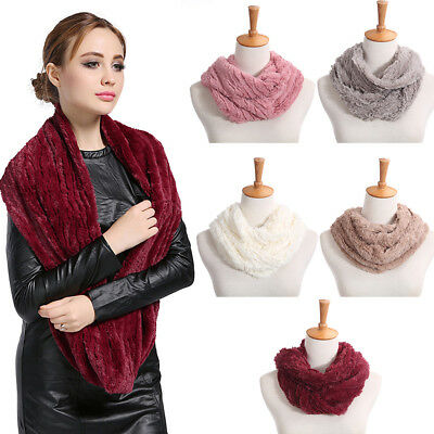 CO_ Women Winter Warm Infinity Circle Cable Knit Cowl Neck Faux Fur Scarf Shawl