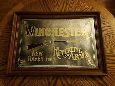 Vintage Winchester Repeating Arms Advertising Mirror New Haven Conn. DATED 1973