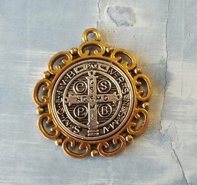 Large St Benedict Medal ~ 2 tone ~ Fancy border ~ 1 1/4 inches with card ~