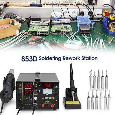 3 in 1 Soldering Rework Station 853D Solder Iron SMD Hot Air DC Power Supply Kit