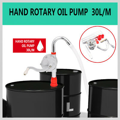 30L/m Hand Oil Pump Rotary Suction Crank Barrel Drum Petrol Diesel Fuel Pumping
