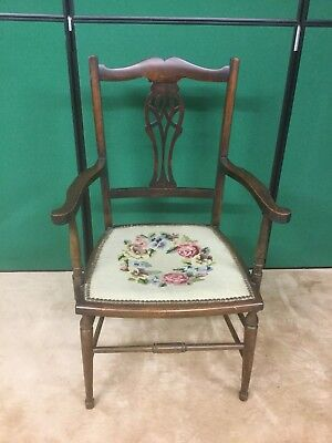 Antique Mahogany Carver Style Chair With Needle Point Seat