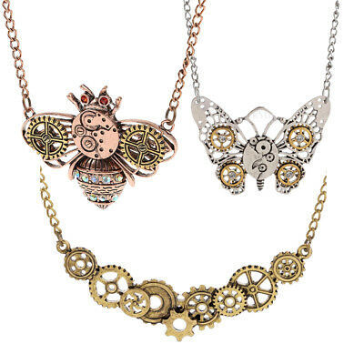 MagiDeal Steampunk Necklace Watch Parts Gear Butterfly Insect Vintage Jewelry