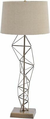 Libra Renzo Antique Brass Table Lamp Architecturally Inspired Beige Shade E27