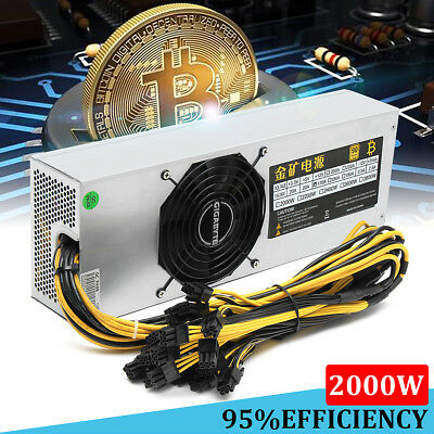 2000W 95% ATX Mining Power Supply PFC For ETH Rig Ethereum Miner S9 S7 L3+ D3 AU