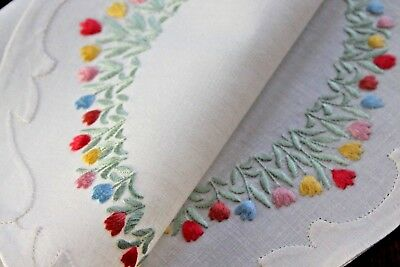 Vtg Antique Handmade Madeira Place Mat White Linen Embroidered Tulips Very Fine