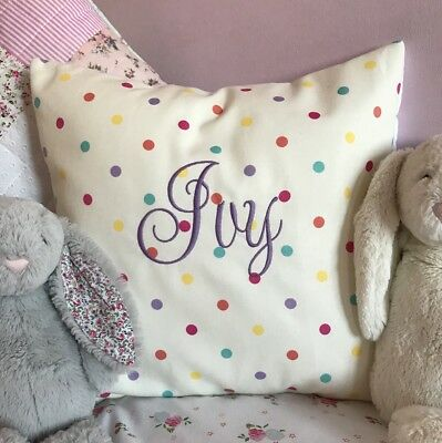 PERSONALISED Girls Embroidered Princess Cushion Cover Clarke /& Clarke Pink Spot