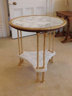 A Stunning French Antique Marble And Gilt Centre Lamp Or Side Table