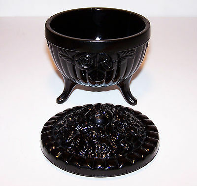 Beautiful Vintage Glossy Black Glass Dish Ribbed with Rose Design and Lid