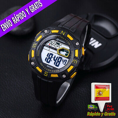 Reloj LED Digital Deportivo para Hombre Amarillo Multifuncion Cronometro Alarma