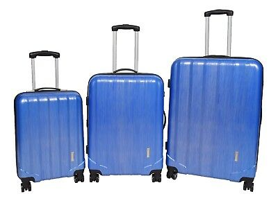 Lightweight PC Hard Shell 4 Wheel Suitcase Expandable Luggage Number Lock Blue