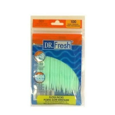 6 Pack Dr. Fresh Dental Floss Picks Soft Bristles Toothpicks 100 Count each