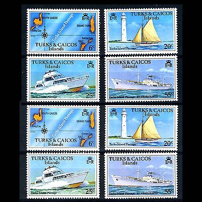 TURKS & CAICOS Is 1978 Island Passage. Wmk & No Wmk Sets. SG 489-492 MNH (CA12R)