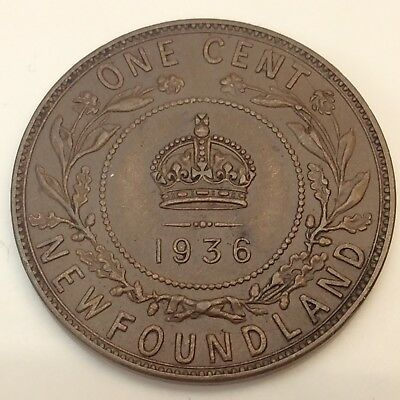 1936 Newfoundland Canada One 1 Small Cent Copper Penny Canadian Coin D600