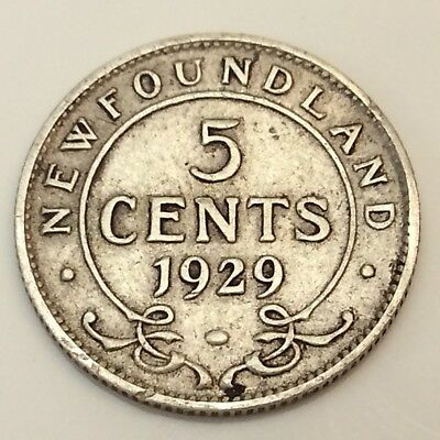 1929 Newfoundland Canada 5 Five Cents Small Nickel Circulated Canadian Coin D610
