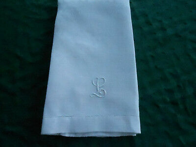 """Antique Large White Damask Towel With A Hand Embroidered Mono.,""""l"""", Circa1920"""