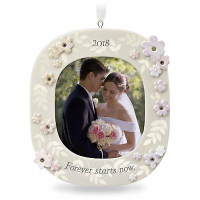 Hallmark Keepsake 2018 Forever Starts Now Wedding Porcelain Photo Ornament