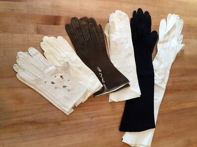 Vintage Women's Gloves Lot Of 6 Pair
