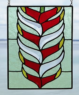 "Stained Glass Window, Hawaiian Lobster Claw Flower, 7.62"" x 9.75"""