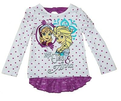Disney Toddler Girls Shirt t Top Frozen Long Sleeve Elsa Anna Lace Bow 2T 3T 4T