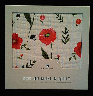 NEW-Little Unicorn 4-Layer Cotton Muslin Quilt/Summer Poppy-Poppies/Baby Girl