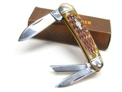 ROUGH RIDER Amber Jigged Bone WHITTLER 3 Blade Folding Pocket Knife! RR375