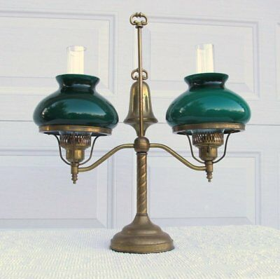 Vintage Antique Replica Brass Double Student Oil Desk Lamp Green Glass Shades