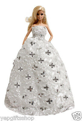Amazing Wedding Gown with Sequins for for 11.5 inches Doll
