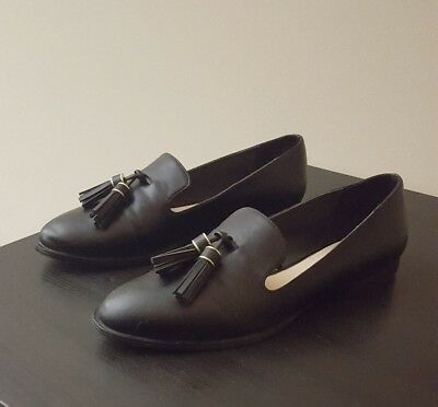 45099ea51b4 ZARA WOMAN BLACK Leather Tassle Penny Loafers Size 9 NWT -  28.00 ...