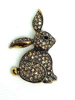 "RABBIT Brooch pin gold rhinestones gold tone1.5""x1""   GIFT Easter Valentine #1"