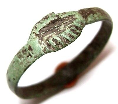 Ancient Rare Medieval Clasped Hands bronze Wedding Ring