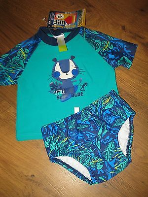 BNWT- Baby Boys Bathers Size 00 3-6m LITTLE SURF DUDE 2-pce Set UPF 50+