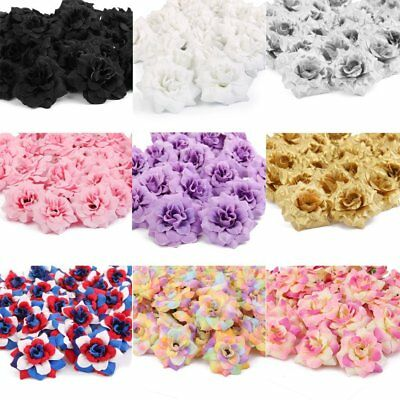 50Pcs Artificial Silk Fake Rose Flower Heads Bulk Craft Wedding Party Decor US