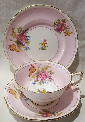 Vintage Paragon Bone China Floral Posy Pattern A1138/4 Pink Trio 1939-49 England