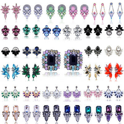 1 Pair Elegant Women Crystal Rhinestone Flower Ear Stud Earrings Fashion Jewelry