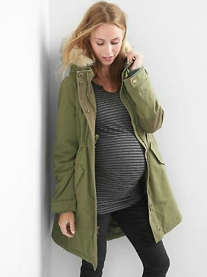 Gap Maternity Primaloft Olive Green Parka Coat #909790 NWT S Small