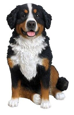 Sitting BERNESE MOUNTAIN DOG Large Realistic Life Like Statue Home Garden NEW