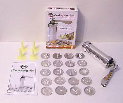 Norpro Cookie Press 20 Discs & 4 Icing Tips Spritz Cookies Recipe Box #3300