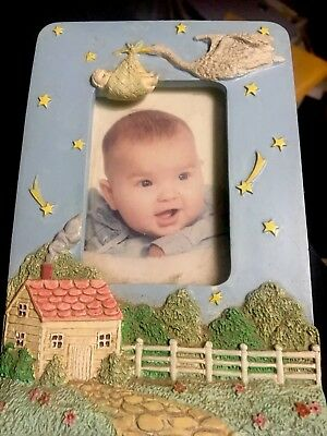 Ceramic Stork Baby Picture Frame For 2 x 4 Picture  Easel Back