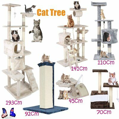 Cat Tree Scratching Post Scratcher Pole Gym Toy House Furniture Multilevel B7