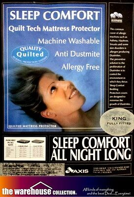 Sleep Comfort King Mattress Protector Thick Quilted Essentials Fully Fitted