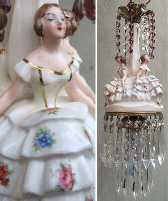 Wedding Lady SWAG lamp vintage Porcelain Brass Amethyst crystal prism chandelier